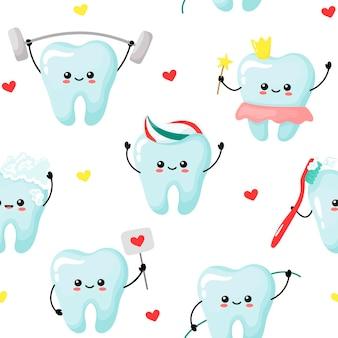 Patrón de lindos dientes kawaii sandfage la ilustración del siglo de los dientes de raíz en estilo de dibujos animados