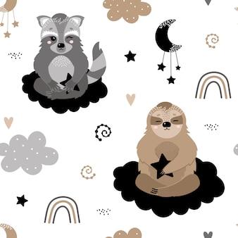 Patrón con lindos mapaches y pereza