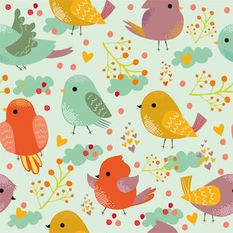 Patrón con lindos pájaros coloridos.