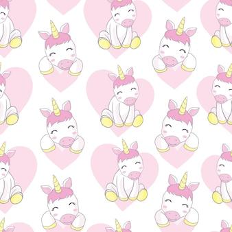 Patrón con lindos unicornios