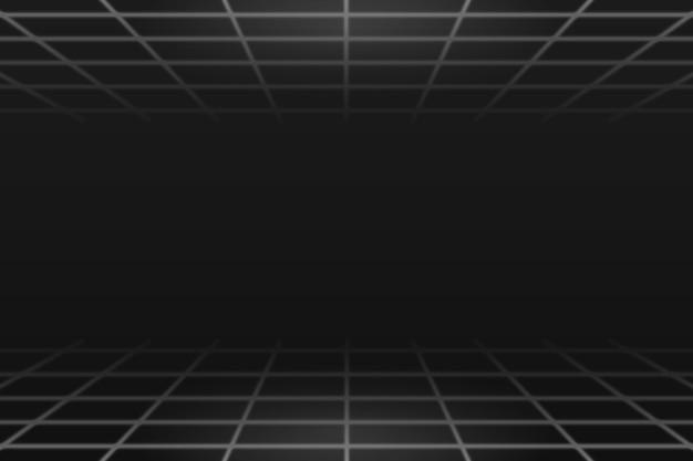 Patrón de línea de cuadrícula gris sobre un fondo negro