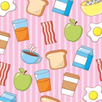 Patrón de línea de iconos de desayuno sobre ilustración de fondo rosa
