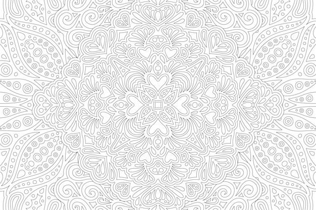 Patrón lineal para colorear formas de corazón de página de libro