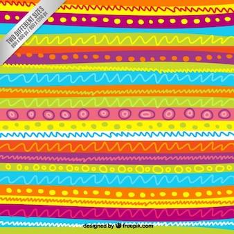 Patrón de líneas esbozadas en estilo colorido