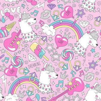 Patrón de llama lindo sobre un fondo rosa. patrón transparente de moda colorido. dibujo de ilustración de moda en estilo moderno para ropa. dibujo para ropa infantil, camisetas, tejidos o embalajes.