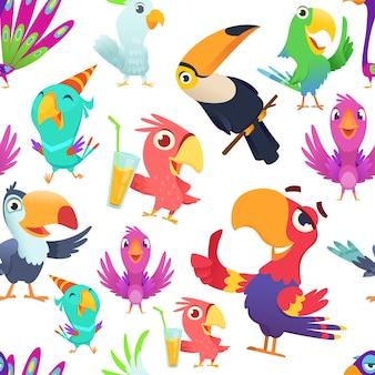 Patrón de loros. tucán aves de colores tropicales verano exóticas ilustraciones sin fisuras en estilo de dibujos animados.