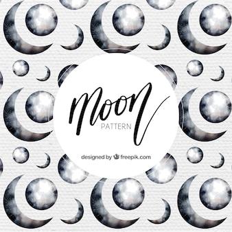 Patrón de luna en estilo de acuarela