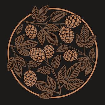 Patrón de lúpulo redondo vintage, para tema de cerveza en el fondo oscuro