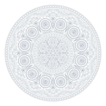 Patrón de mandala azul en estilo boho en blanco