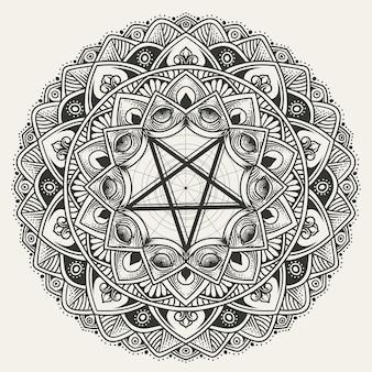 Patrón de mandala de círculo de lujo con pentagrama