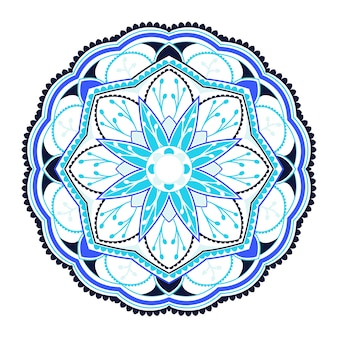 Patrón de mandala colorido sobre fondo blanco