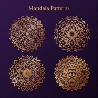 Patrón de mandala de lujo con patrón de arabesco dorado mandala de estilo islámico árabe``