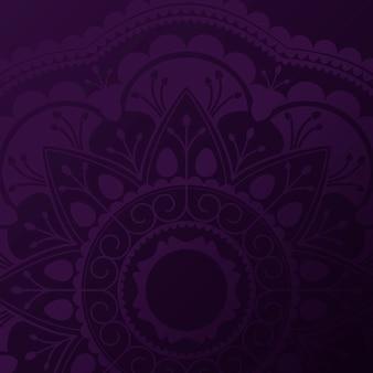 Patrón de mandala púrpura sobre fondo negro