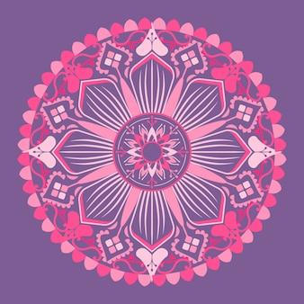 Patrón de mandala rosa sobre fondo púrpura