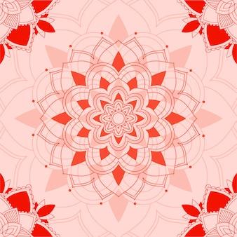 Patrón de mandala sobre fondo rosa