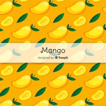 Patrón mango y hojas dibujado a mano