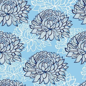 Patrón con mano abstracto dibujado crisantemos