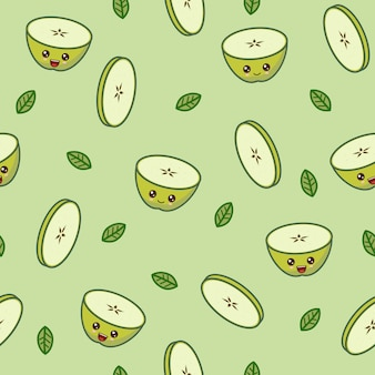Patrón de manzana verde kawaii en fondo verde