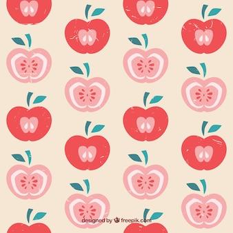 Patrón con manzanas dibujadas a mano