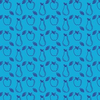 Patrón de manzanas y peras frescas