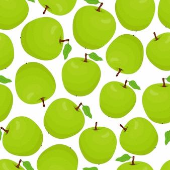 Patrón con manzanas verdes