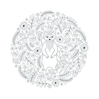 Patrón con mapache y flores sobre fondo blanco.