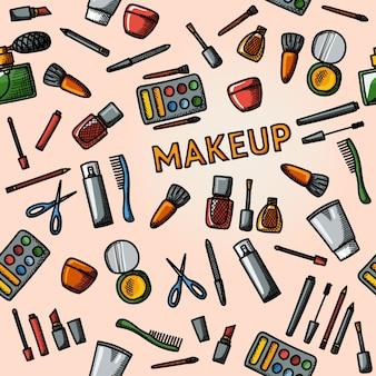 Patrón de maquillaje dibujado a mano de color: rímel y esmalte, polvos, lápices labiales, perfumes, lociones, peine, cortaúñas.