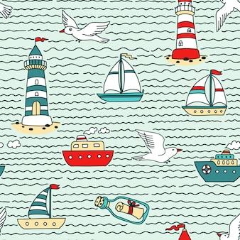 Patrón de mar abstracto sin fisuras con embarcaciones, faros, gaviotas y mensaje en una botella