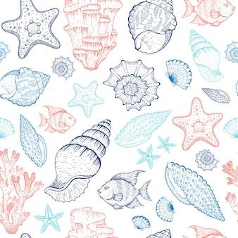 Patrón de mar con conchas, arrecifes de coral, estrellas de mar, algas. ilustración de océano transparente. estilo marino vintage.