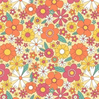 Patrón maravilloso dibujado a mano con flores