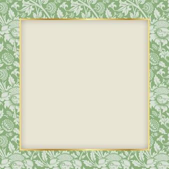 Patrón de marco de adorno natural inspirado en william morris