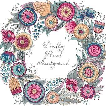 Patrón de marco floral de color
