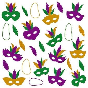 Patrón de mardi gras con plumas de máscara y collares