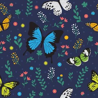 Patrón de mariposa floral transparente