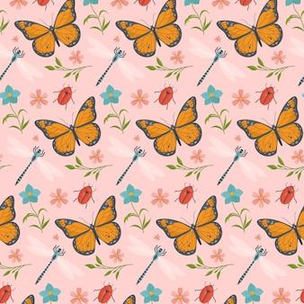 Patrón con mariposas y flores