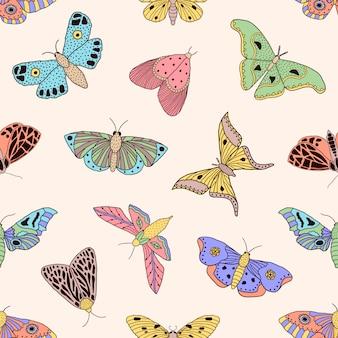 Patrón con mariposas y polillas