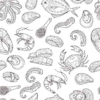 Patrón de mariscos. vida marina de tinta dibujada a mano. boceto de comida japonesa, grabado ingredientes oceánicos vintage