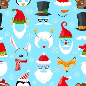 Patrón con máscaras navideñas