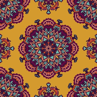 Patrón de medallón de paisley floral indio. adorno étnico mandala.