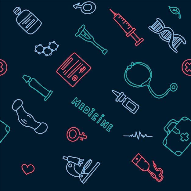 Patrón médico sin costuras cartel médico del doodle gran conjunto de farmacia tarjeta de ilustración vectorial