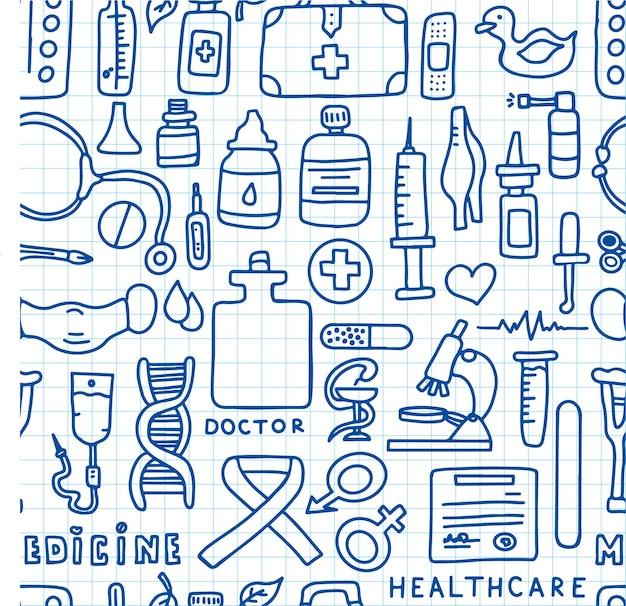 Patrón médico sin costuras cartel médico del doodle gran farmacia se ilustración vectorial