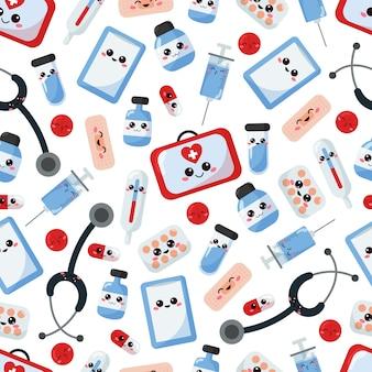 Patrón médico sin costuras con personajes de dibujos animados kawaii.