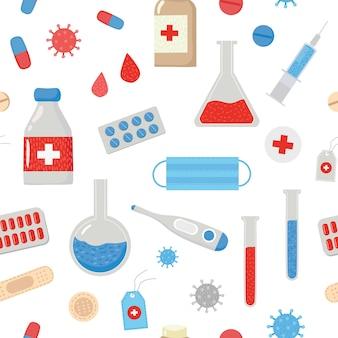 Patrón médico con la imagen de tabletas termómetro yeso
