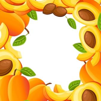 Patrón de melocotón y rodajas de melocotón. ilustración con espacio vacío para cartel decorativo, producto natural emblema, mercado de agricultores. página web y aplicación móvil