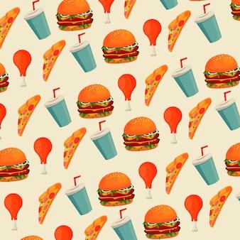 Patrón de menú de comida rápida deliciosa