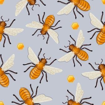 Patrón de miel bees.vector ilustración.