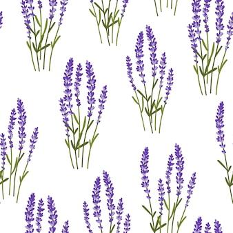 Patrón minimalista abstracto sin fisuras con flores de lavanda.