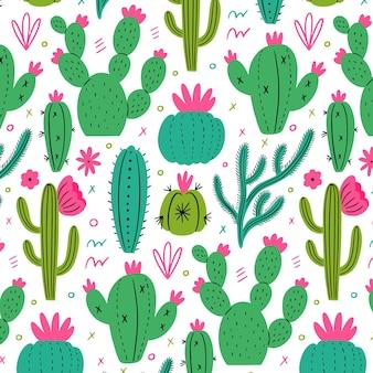 Patrón minimalista con plantas de cactus.