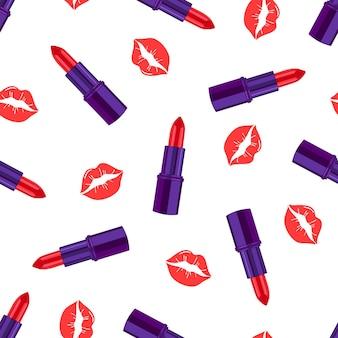 Patrón de moda glamorosa con lápiz labial y besos.patrón cosmético sin costuras. diseño para la industria de la belleza, publicidad, san valentín. ilustración vectorial
