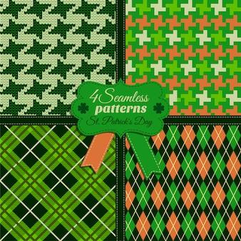 Patrón de moda perfecta establece og colores verdes en diferentes texturas. celebración del día de san patricio.